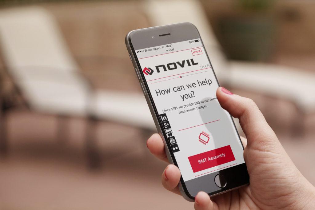 Novil website on mobile device